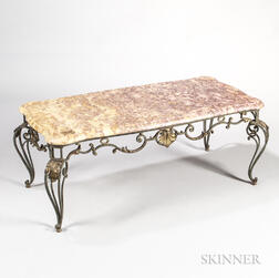 Marble and Wrought Iron Low Table