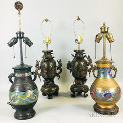 Four Metalwork Lamp Vases