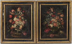 Continental School, 18th Century      Pair of Floral Still Lifes