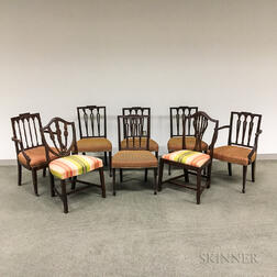 Eight Federal-style Carved Mahogany Chairs