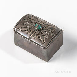 Small Navajo Silver Box with Turquoise Setting