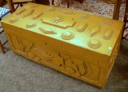 Tramp Art Painted and Notch-carved Wooden Storage Box