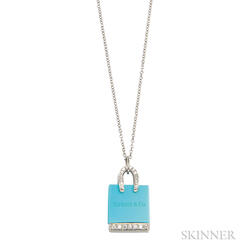 Platinum, Turquoise, and Diamond Shopping Bag Charm, Tiffany & Co.