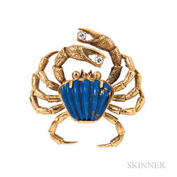 18kt Gold and Hardstone Crab Pin