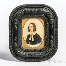 American School, 19th Century      Miniature Portrait of a Woman in a Black Dress