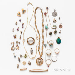 Group of Gold Vintage Jewelry
