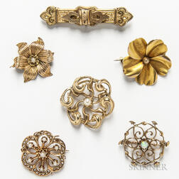 Six Antique Gold Brooches
