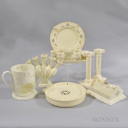Eight Creamware Tableware Items