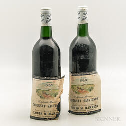Louis Martini Cabernet Sauvignon California Mountain 1968, 2 bottles