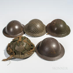 Five British Brodie Helmets
