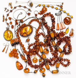 Group of Amber and Resin Jewelry