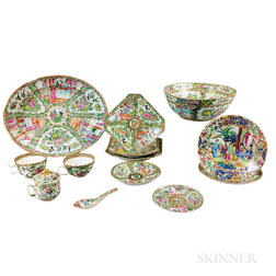 Thirteen Rose Medallion Porcelain Tableware Items.     Estimate $200-300