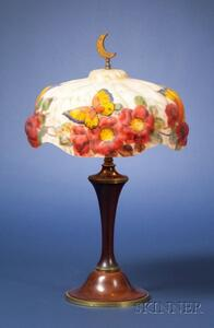Pairpoint Butterfly Puffy Glass and Wooden Table Lamp