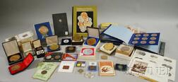 Eighty-five Assorted Bronze and Metal Coins and Medals and a 1973 Franklin Mint Bronze Set.