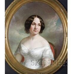 American School, 19th Century  Portrait of a Lady in White.