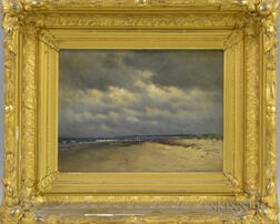 Horace Greeley Hewes (American, 1849-1927)      Beach Beneath a Cloudy Sky