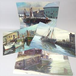 Paul Ernest Goodridge (American, 1912-1991)      Four Views of Boats in a Harbor
