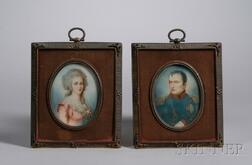 Pair of Gilt-metal and Cloth Framed Miniature Hand-painted Portraits on Ivory   Depicting Napoleon and Josephine