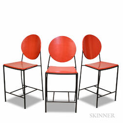Three Dakota Jackson Red-painted and Iron Bar Stools