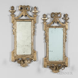 Pair of Italian Giltwood Mirrored Two-light Candle Sconces