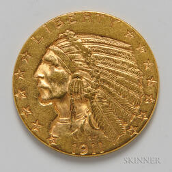 1911 $5 Indian Head Gold Coin.     Estimate $300-400