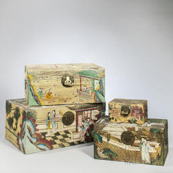 Four Leather Storage Chests