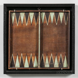 Paint-decorated Backgammon/Checkers Game Board