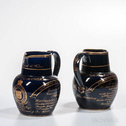 Pair of Coalport Porcelain Blue-ground Shropshire Election Jugs