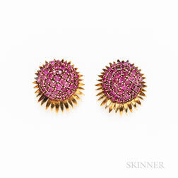 Pair of Retro 18kt Gold and Ruby Cluster Earclips