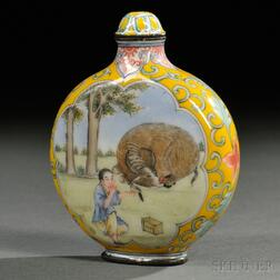 Canton Enamel Snuff Bottle with a Boy and Ox