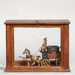 Prisoner of War Model of Coach and Horses in a Strawwork Case