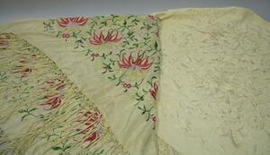 Two Chinese Embroidered Silk Shawls.