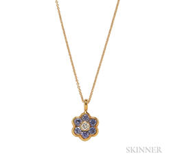 18kt Gold, Sapphire, and Diamond Flower Pendant, Asprey