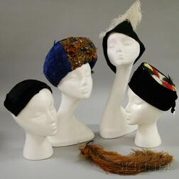 Four Vintage Feathered Hats and Caps