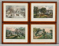 Currier & Ives, publishers (American, 1857-1907)       Four Prints from the AMERICAN HOMESTEAD   Series