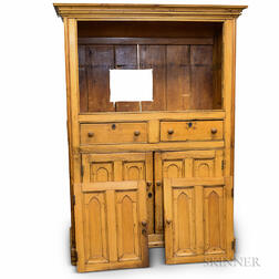 Large English Provincial Pine Cupboard