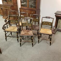 Set of Six Paint-decorated and Stenciled Cane-seat Fancy Chairs