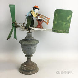 Polychrome Sawing Man Whirligig and Yellow-painted Directional with Dove