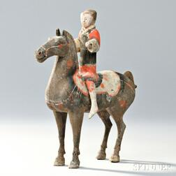 Gray Pottery Figure of an Equestrian