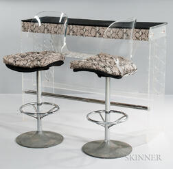 Lucite Bar with Two Bar Stools