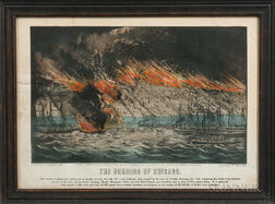 Currier & Ives Small Folio Lithograph The Burning of Chicago