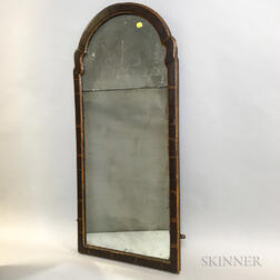 Queen Anne Walnut Veneer Mirror with Etched Glass Panel