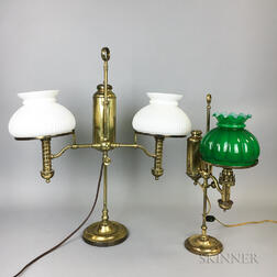 Two Brass and Glass Student Lamps