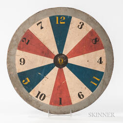 Polychrome Double-sided Wheel of Chance/Checkers Game Board