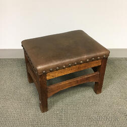 Quaint Arts and Crafts Leather-upholstered Oak Stool
