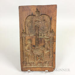 Carved Walnut Cookie Board of a Nativity Scene