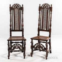 Pair of William and Mary Caned Beech Side Chairs