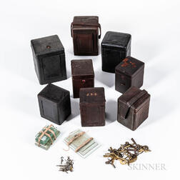 Eight Leather 19th Century Carriage Clock Cases and Keys
