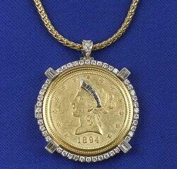 18kt Gold Coin and Diamond Pendant/Watch