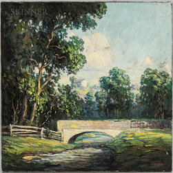 Walter Koeniger (American, 1881-1943)      Summer Landscape with Footbridge